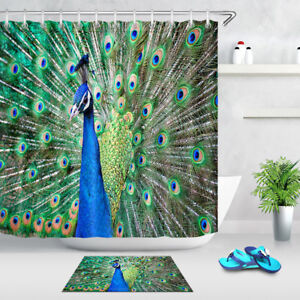 Beautiful Colorful Peacock Pattern Fabric Waterproof Shower Curtain With Hooks