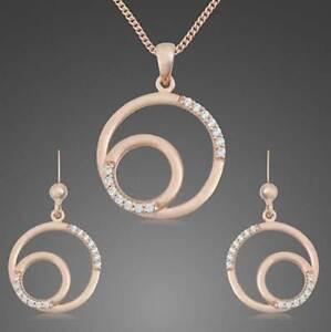 Schmuckset-Sterling-Silber-925-rose-vergoldet-Kette-Anhaenger-Ohrschmuck-Kreise