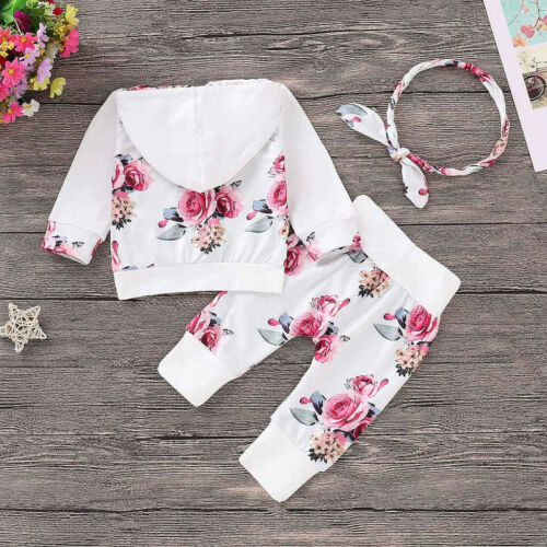 Newborn Kid Baby Girls Clothes Hooded Tops Pants Floral Outfits Set Tracksuit UK