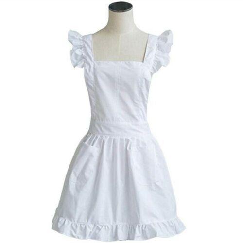 White Victorian Lace Bib Apron Pinafore Maid Cinderella Alice Mrs Santa X/'mas