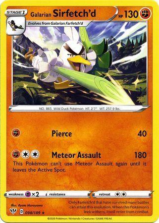 Galarian Sirfetch/'d 098//189 Rare Pokemon Card 2020 Darkness Ablaze Set - NM