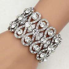 Silver Tone Clear Crystal Bridal Wedding Bangle Cuff Stretch Bracelet 09998
