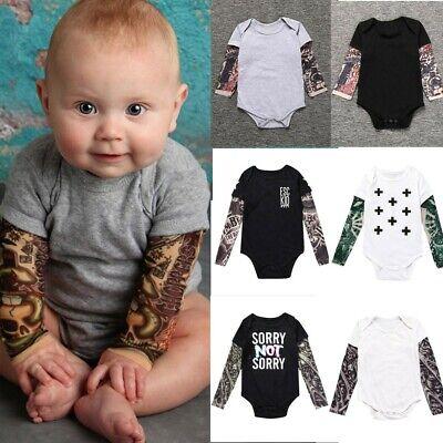 3-24M Infant Baby Boy Tattoo Print Long Sleeve Romper Top Splice Jumpsuit Blouse