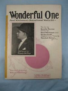 Wonderful-One-Sheet-Music-Vintage-1923-Featuring-Frank-De-Voe-Paul-Whiteman-O