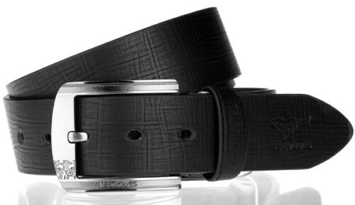 Men Belt Natural Real Cow Genuine Leather Pin Lock Buckle Skin Black 1206200
