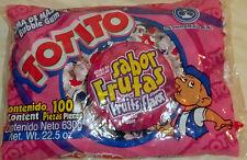 Totito Sabor Frutas Goma De Mascar Chicles Fruit Flavored Bubble Gum 100 Pcs