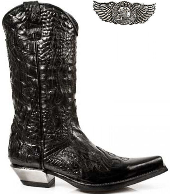 Newrock New CUOIO Rock Donna 7921-s1 CUOIO New West Nero Crush Cowboy Stivali In Pelle d33dbe
