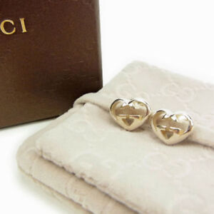 8e4d118da9d Image is loading GUCCI-earring-heart-shape-Ladies-Authentic-Used-Y5201
