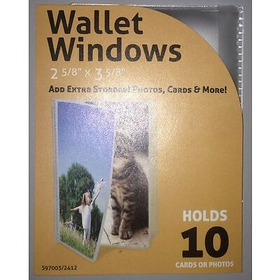 Wallet Windows TRIFOLD Inserts Credit Cards Photos Clear Holder