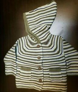 UNISEX-INFANT-GYMBOREE-BABY-STRIPED-HOODED-CARDIGAN-GREEN-SIZE-3-6-MONTHS-NWT