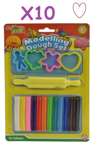 Giocattolo Set 12 Pezzi Modellazione Argilla Kids Play Toy Divertimento Strumento 12 COLORI 10 confezioni