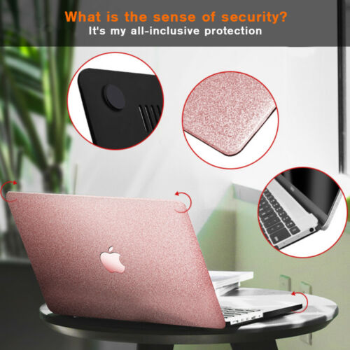 Rose Gold Leather Bling Shiny Glitter Hard Case for MacBook Air Pro 11 12 13 15