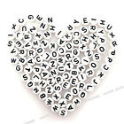 300pcs Random Black&white Letters A-Z Plastic Oblate Spacer Bead Findings 7mm BS