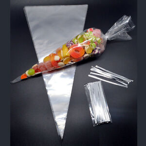 50-CLEAR-Plain-Cone-Cellophane-Sweet-Party-Bags-With-4-034-Silver-Twist-Ties