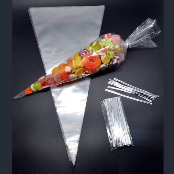 "50 CLEAR Plain Cone Cellophane Sweet / Party Bags With 4"" Silver Twist Ties"