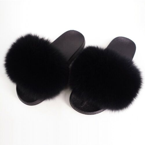 US Women Real Fur Flat Shoes Fluffy Flip Flop Slippers Sliders Sandals Xmas Gift