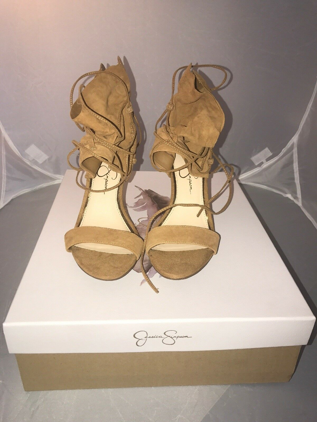 Jessica Simpson Madeena Lace-Up Pumps- Size 7M-Honey Brown Suede