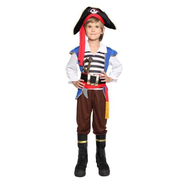 3pcs Kids Captain Jack  Pirate Set Fancy Dress Costume Child Caribbean Accessory