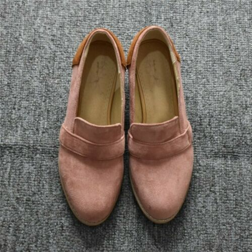 Details about  /Women/'s Fashion Round Toe Slip On Loafers Block Low Heels OL Shoes 45//46//47//48
