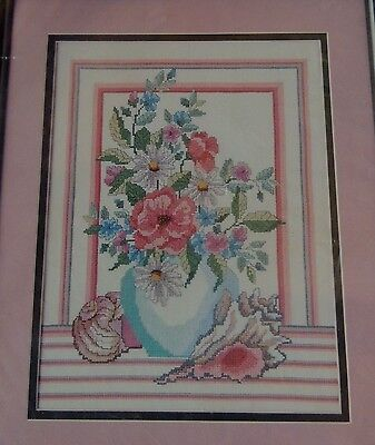 """Shells & Floral Vase Cross Stitch Kit 11"""" x 14"""" Golden Bee Daisies New Sealed"""