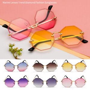 Rimless-Octagon-Sunglasses-Vintage-Retro-Women-Small-Frame-Gradient-Sun-Glasses