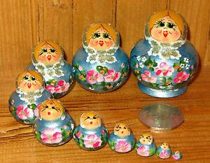MINIATURE-Matryoshka-Russian-nesting-dolls-10-PEARL-BLUE-amp-Pink-Flowers-ULYANOVA