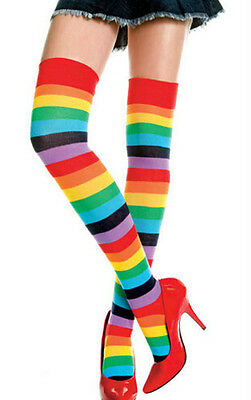 Women Trendy Sexy Rainbow Thigh High Striped Socks Costume Thigh-Highs Stockings