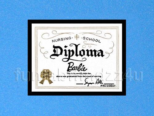 Vintage Barbie Registered Nurse #991 Inspired Accessory Diploma REPRO