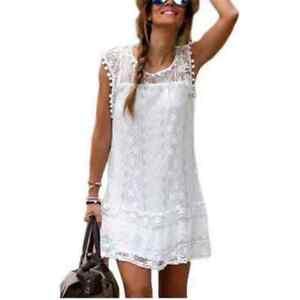 new arrival 59a7c 39070 Dettagli su Vestito donna bianco nero rosso blu pizzo ricamato sexy moda  estate mare giorno