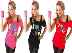 Détails sur Nouveau Femmes I Love 80 s T Shirt Top Costume Robe Fantaisie  Fluo Festival Costume, afficher le titre d\u0027origine