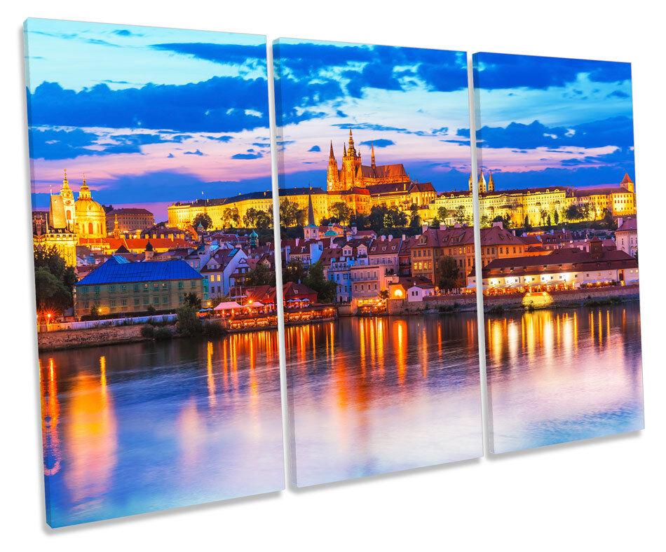 Prague Stadt Sunset Skyline CANVAS Wand Kunst TREBLE Box Frame Drucken