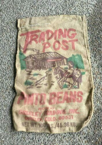 Advertising Burlap Bag TRADING POST PINTO BEANS GREELEY COLORADO