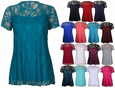 Womens Floral Lace Short Sleeve Ladies Stretch T-Shirt Tunic Party Top Plus Size