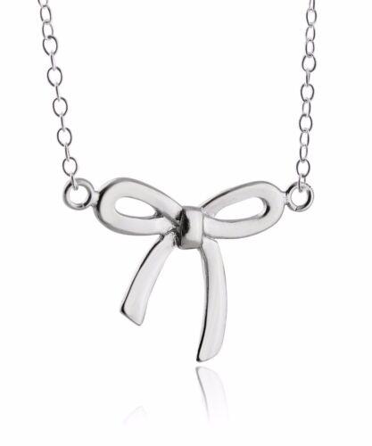 "Nœud Ruban Collier 925 Pendentif en argent sterling cadeau Bows Girl Fille 18/"" NEUF"