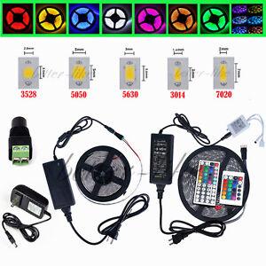 5M-SMD-3528-5050-5630-3014-300LEDs-RGB-White-LED-Strip-Light-12V-Power-Supply-US