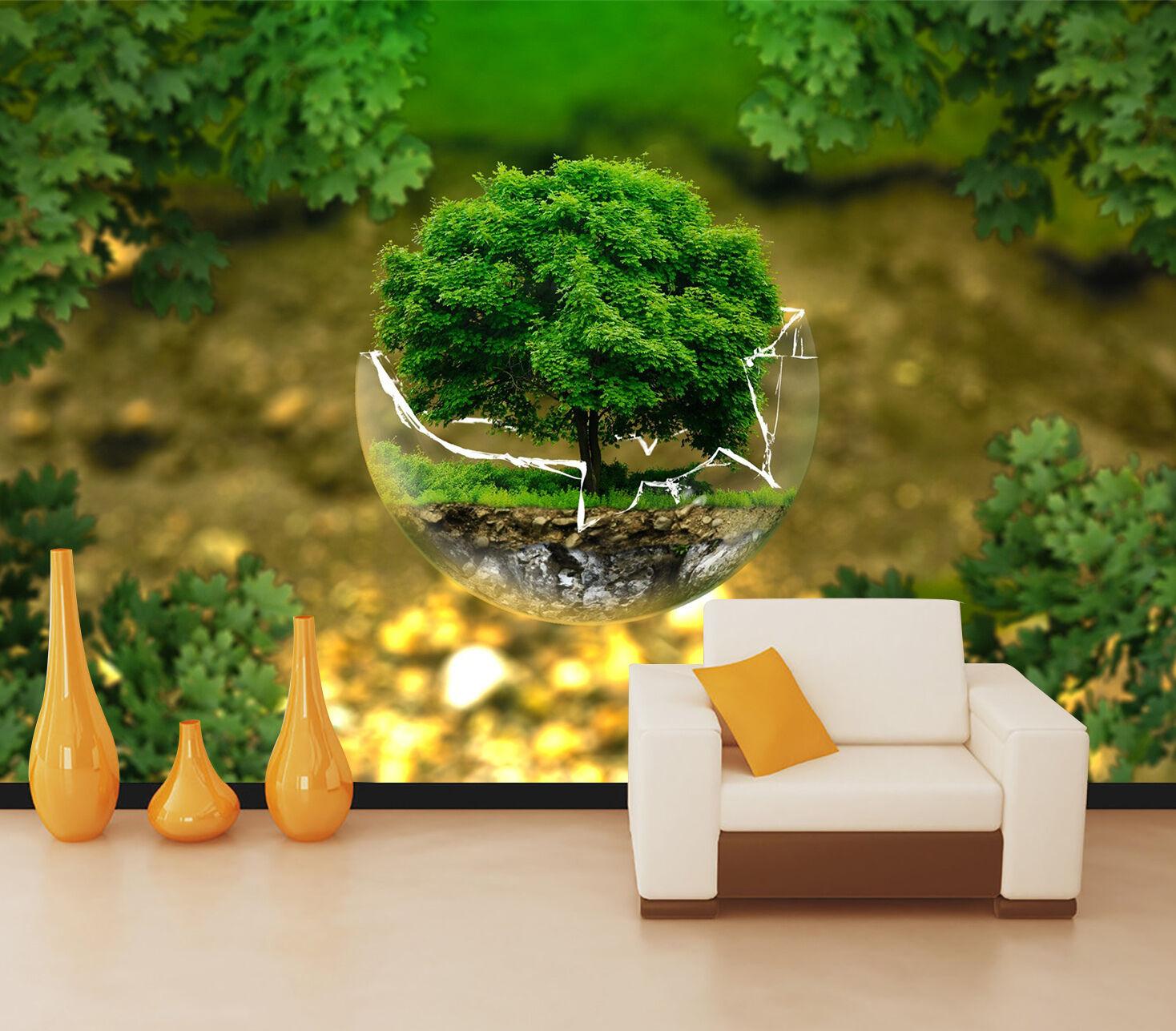 3D green Albero 4 Parete Murale Foto Carta da parati immagine sfondo muro stampa