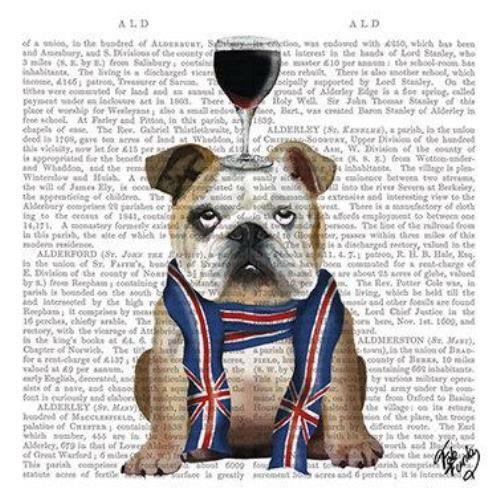 mixed media 4 individual British bulldog decoupage napkins scrapbooking craft