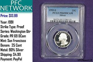 1992-S-Silver-Proof-PR-PF-69-Deep-Cameo-Washington-Quarter-San-Francisco-Dcam