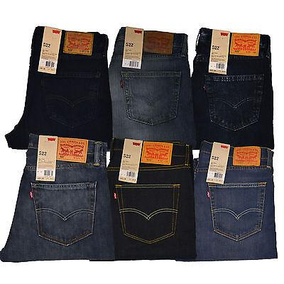 Levis 522 Jeans Mens Slim Fit Tapered Leg Denim Jean Light Medium Dark Stonewash