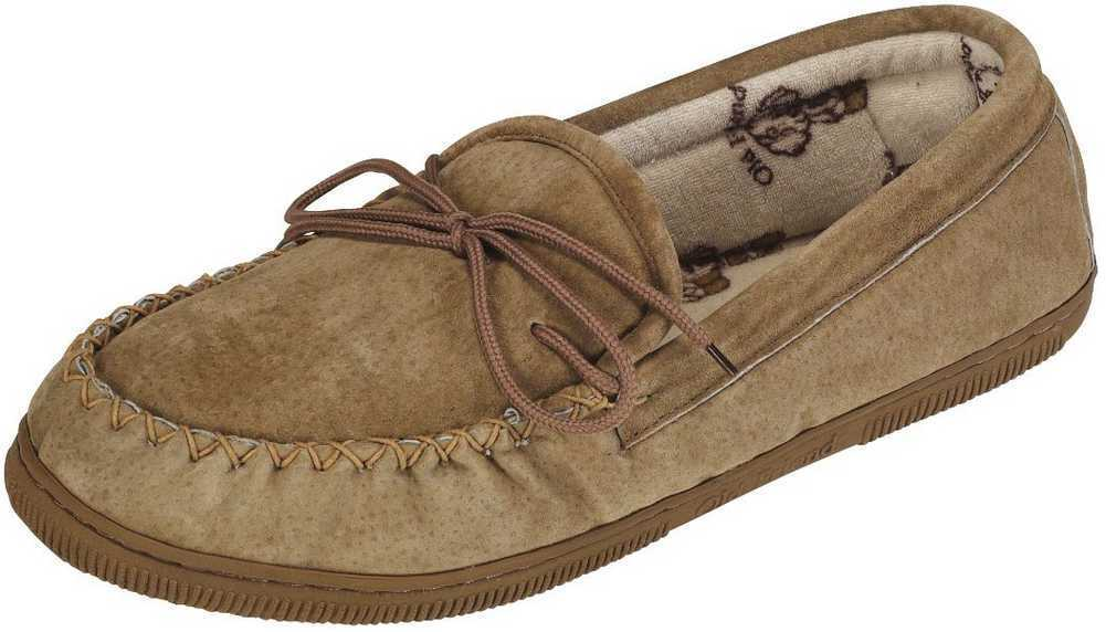 Old Friend Footwear Men's Terry Cloth Moccasin Slippers Chestnut, Regular & Wide