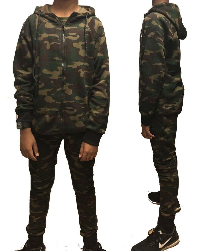 Homme Army Camo Camouflage Sweat À Capuche Survêtement à Capuche Fermeture Éclair Survêtement Poche Zippée S-xl