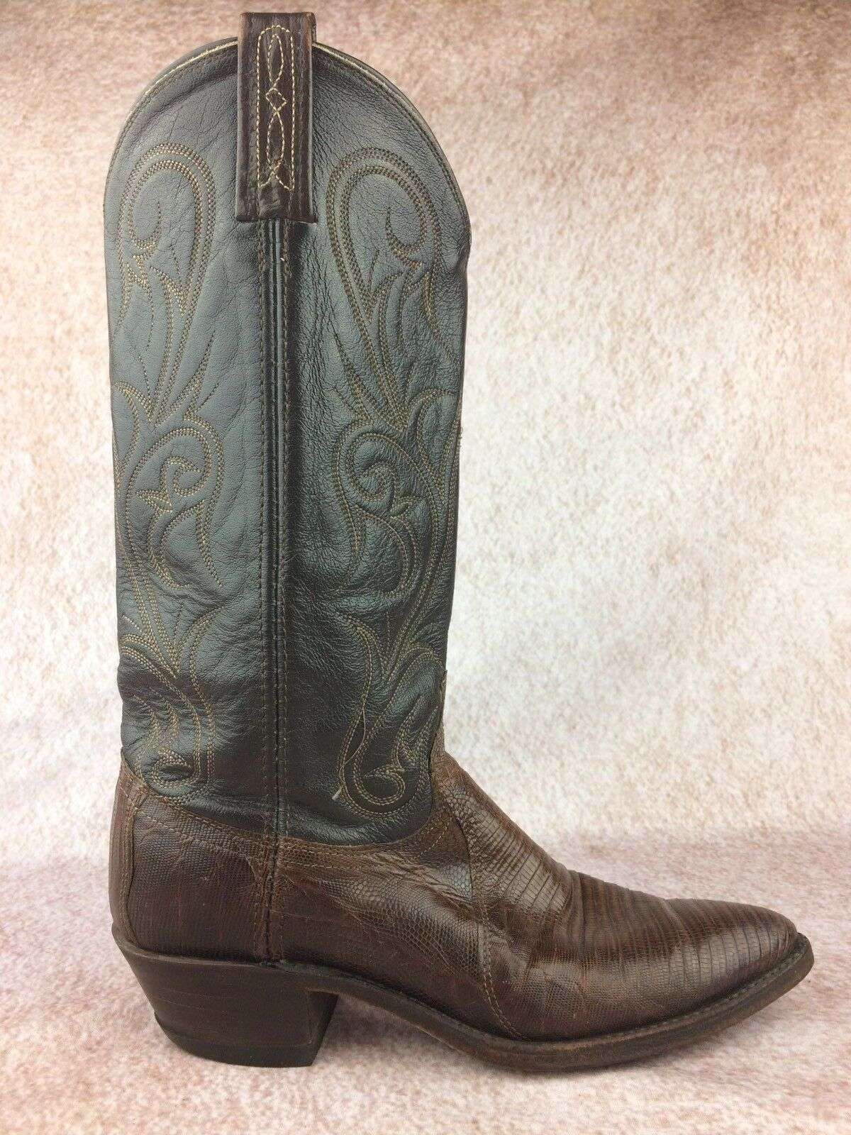 DAN POST Women's Brown Teju Lizard Leather Western Cowboy Boots - Size 7.5 M