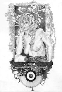 NUDE FEMALE ART STUDY SIGNED A3 PRINT of original pen and ink drawing. REDUCED!