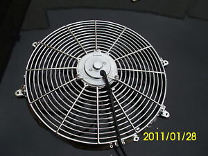 16-INCH-220W-12v-LOW-PROFILE-CHROME-HIGH-PERFORMANCE-THERMO-FAN-12v-f1