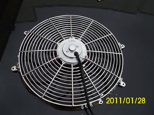 16 INCH 220W 12v  LOW PROFILE CHROME  HIGH PERFORMANCE THERMO FAN 12v f1