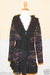 Button Ruffled Nwt Bali Black 3 Lace Taupe Damejakke qI4qgcwAxC