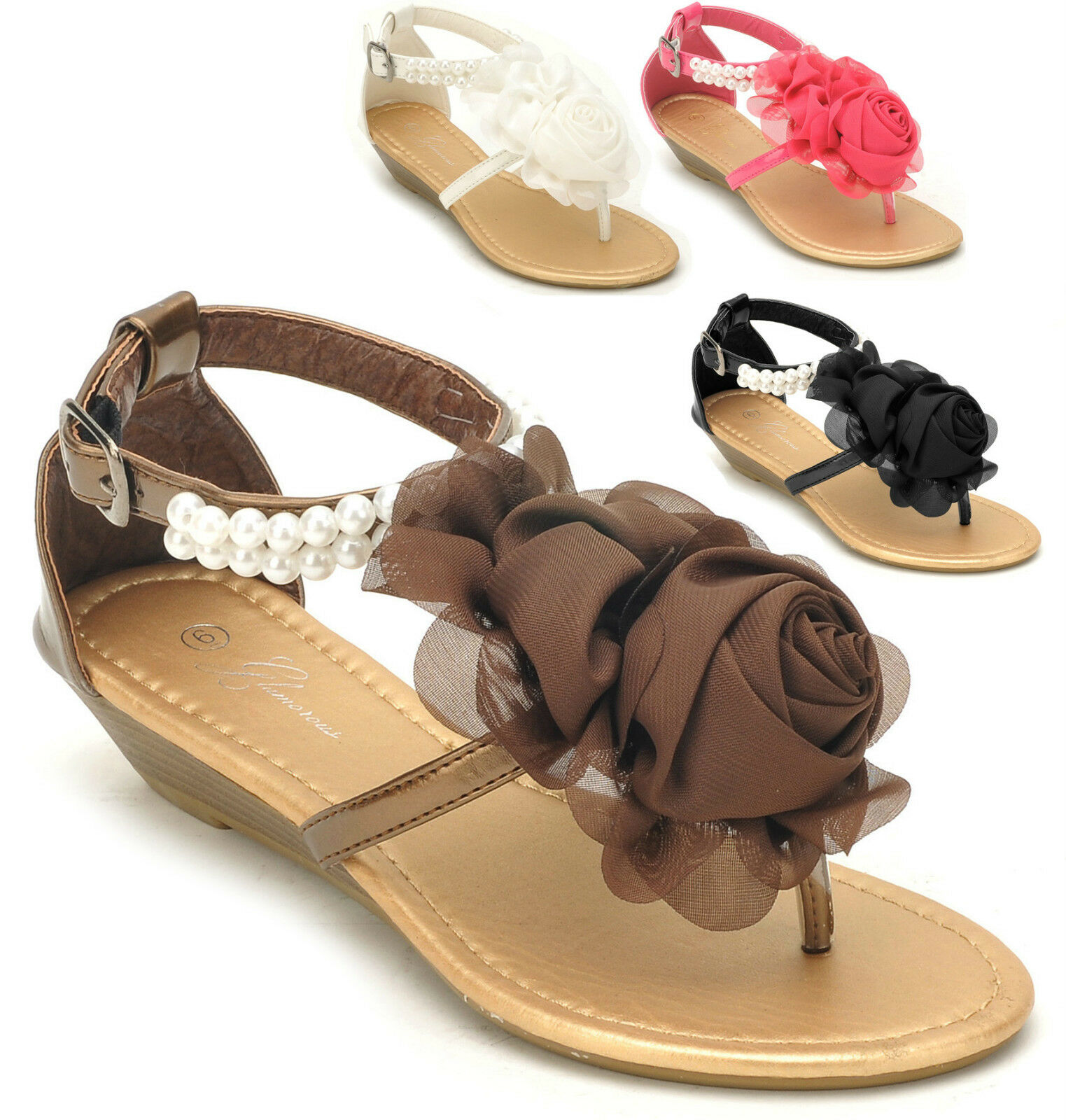 NEW Women's Flower Bow Pearl Ankle Sandals Strap Low Wedge Thong Sandals Ankle Size 5 to 10 f635f2