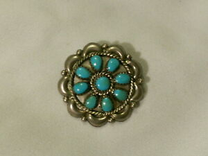 Sterling-Silver-Turquoise-Sunburst-Design-Pendant-Brooch