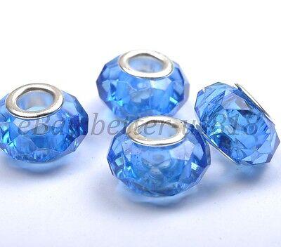 10Pcs 100Pcs SILVER Buckle Acrylic Beads/Core Fit European Charms Bracelets 14MM