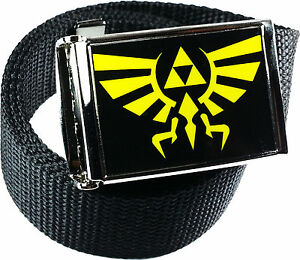 Zelda-Triforce-Black-Yellow-Belt-Buckle-Bottle-Opener-Adjustable-Web-Belt